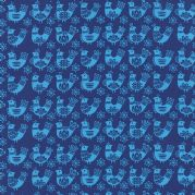 Navy Birds Folk Art Holiday Fabric - per quarter metre